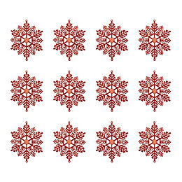 Glitter Red Snowflake Tree Decoration, Pack of 12