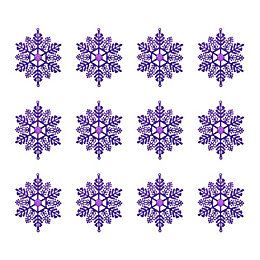 Glitter Purple Snowflake Tree Decoration, Pack of 12
