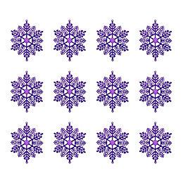 Glitter Purple Snowflake Tree Decoration, Pack of 12