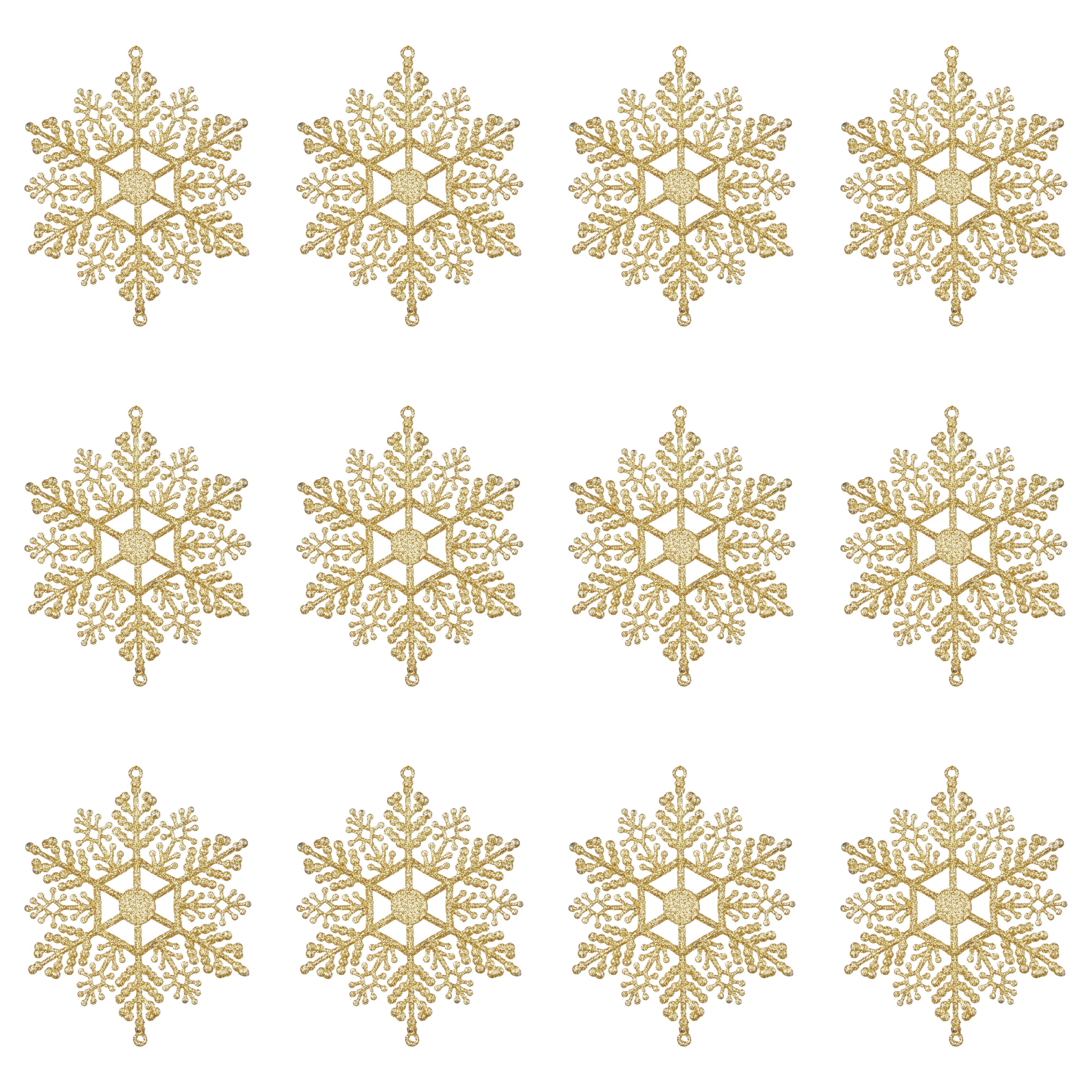 Glitter Gold Snowflake Tree Decoration, Pack Of 12