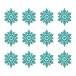 Glitter Teal Snowflake Tree Decoration, Pack of 12
