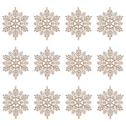 Glitter Champagne Snowflake Tree Decoration, Pack of 12