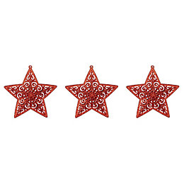 Glitter Red Star Tree Decoration, Pack of 3