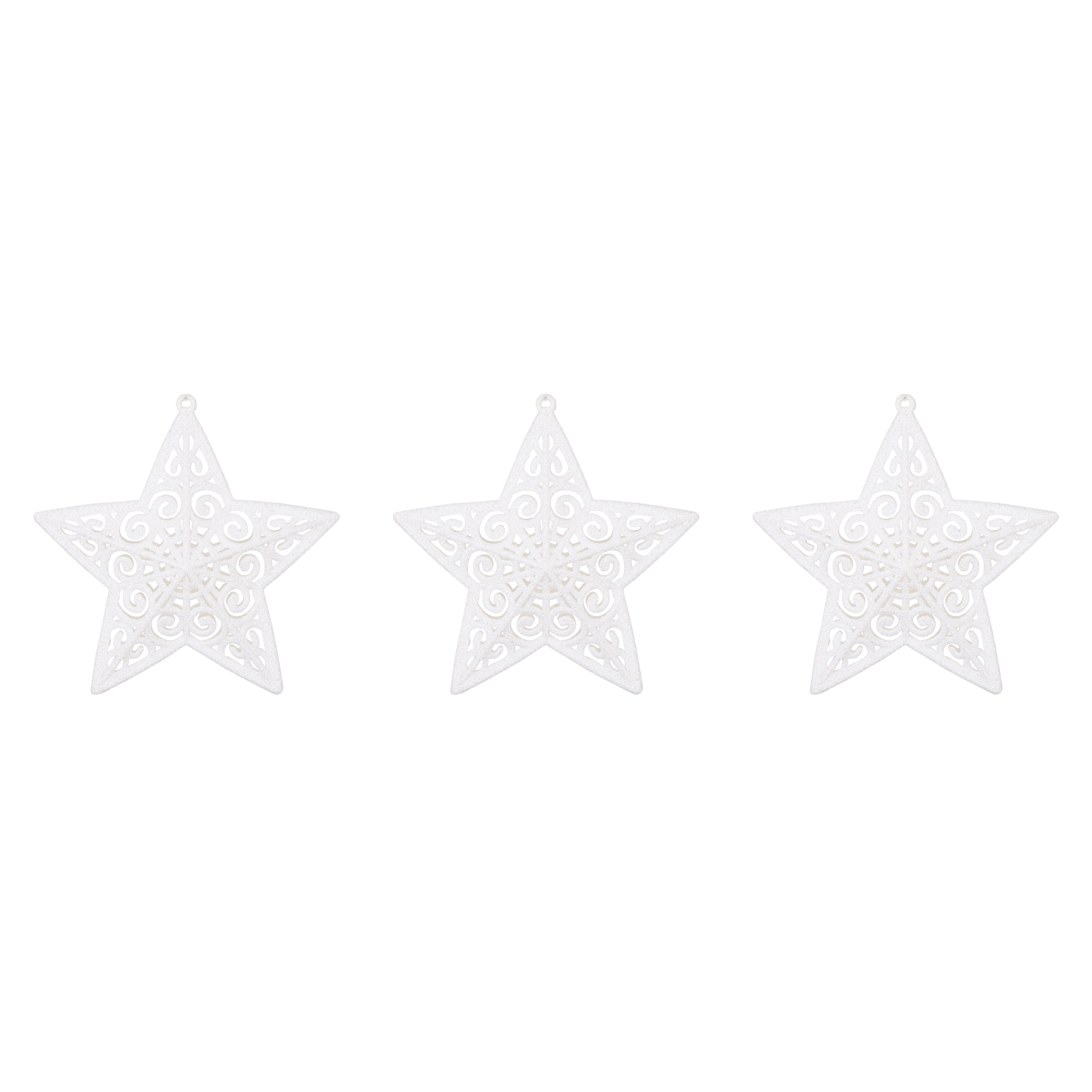 Glitter White Star Tree Decoration, Pack Of 3