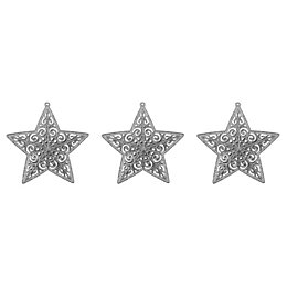 Glitter Silver Star Tree Decoration, Pack of 3