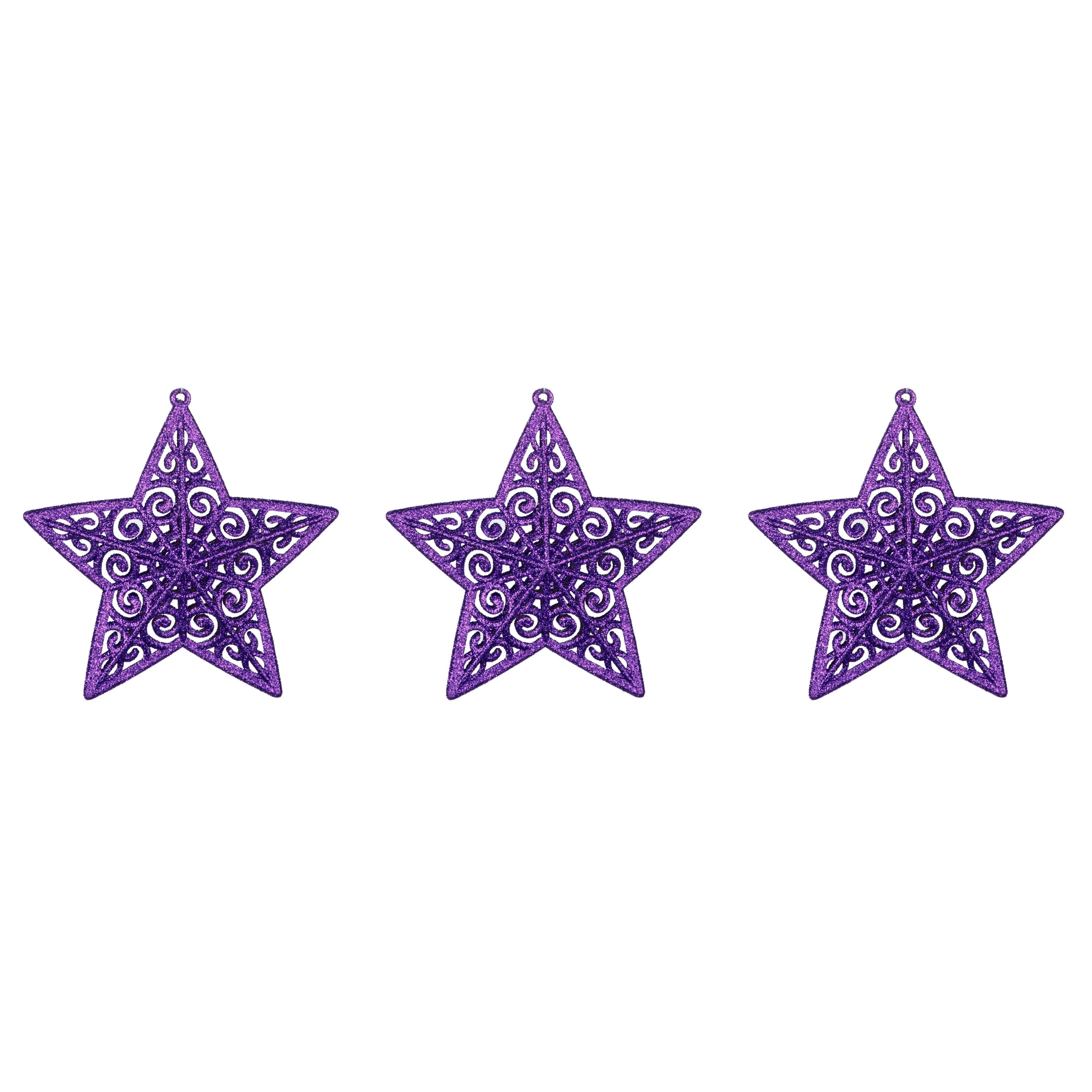 Glitter Purple Star Tree Decoration, Pack Of 3