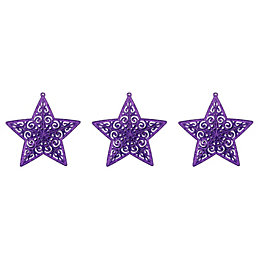 Glitter Purple Star Tree Decoration, Pack of 3