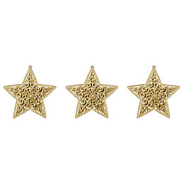 Glitter Gold Star Tree Decoration, Pack of 3