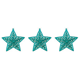 Glitter Teal Star Tree Decoration, Pack of 3
