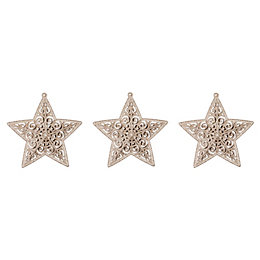 Glitter Champagne Star Tree Decoration, Pack of 3