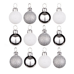 Silver & White Mini Baubles, Pack of 12
