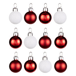 Red & White Assorted Mini Baubles, Pack of