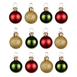 Red, Green & Gold Assorted Mini Baubles, Pack