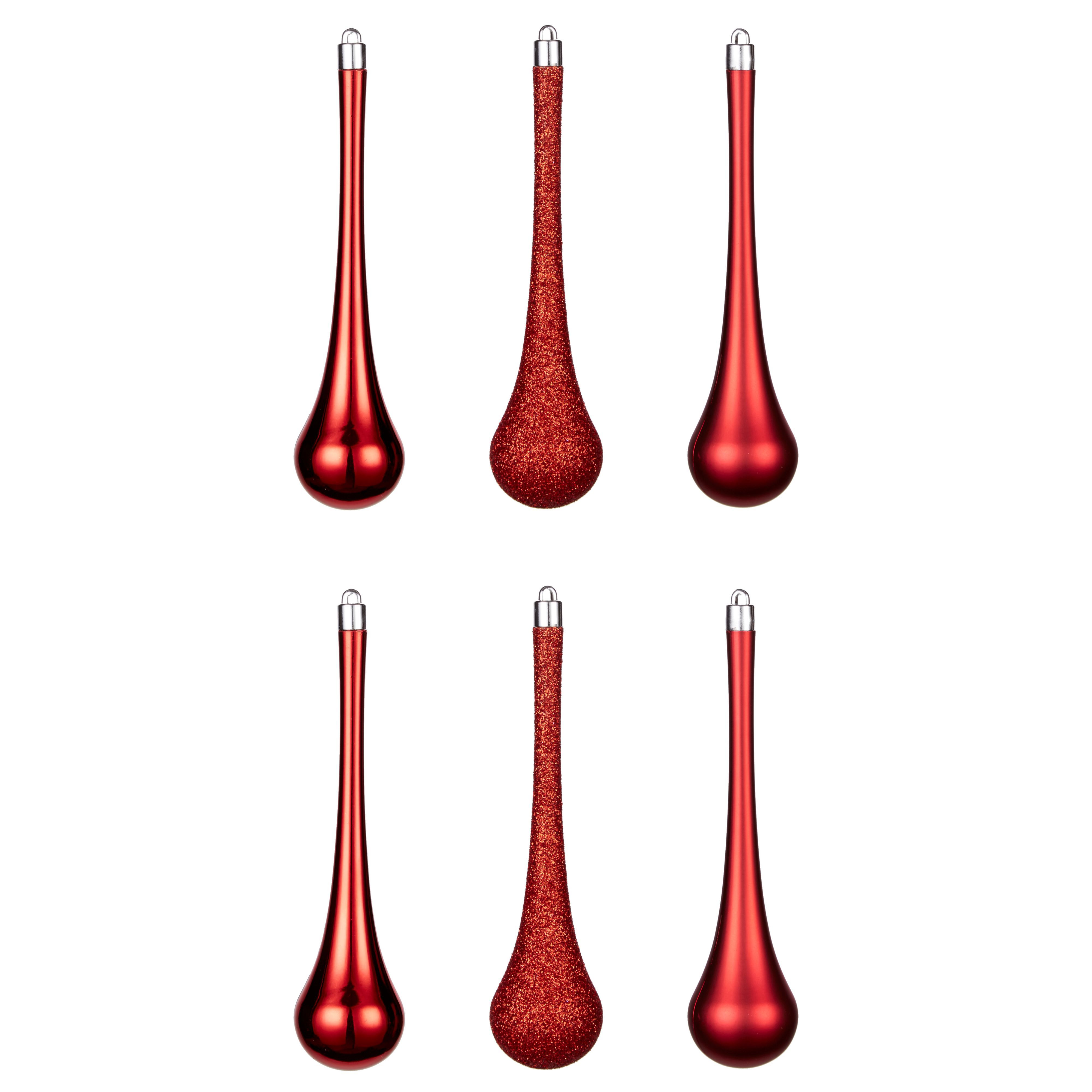 Red Teardrop Tree Decoration, Pack Of 6