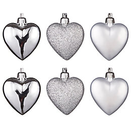Silver Heart Tree Decoration, Pack of 6