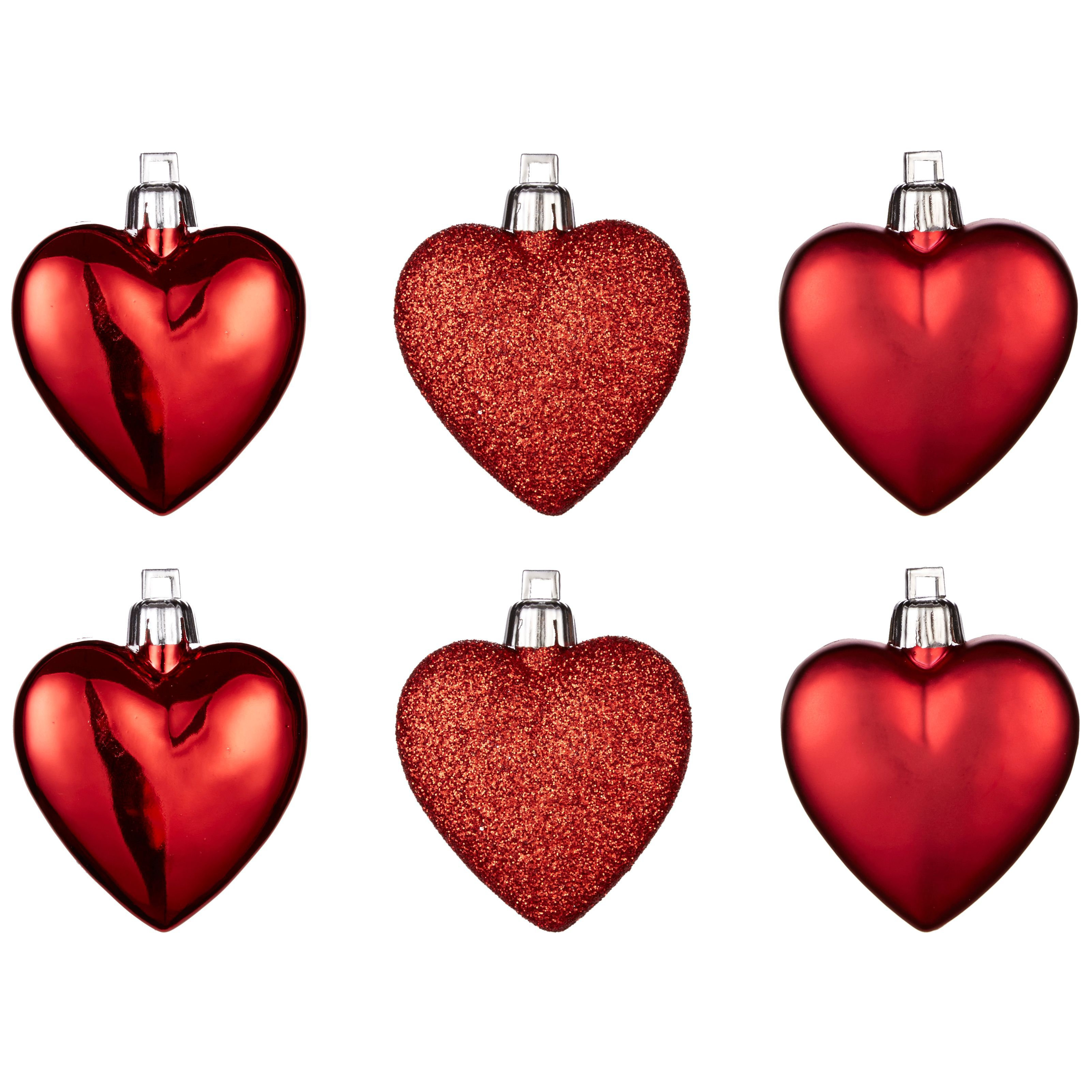 Red Heart Tree Decoration, Pack Of 6