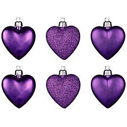 Purple Heart Tree Decoration, Pack of 6