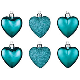 Teal Heart Tree Decoration, Pack of 6