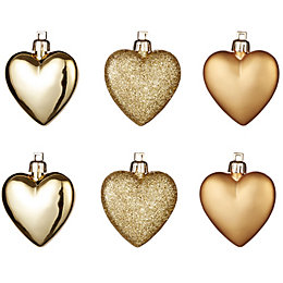 Gold Heart Tree Decoration, Pack of 6