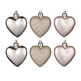 Champagne Heart Tree Decoration, Pack of 6