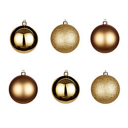 Gold Assorted Baubles, Pack of 6