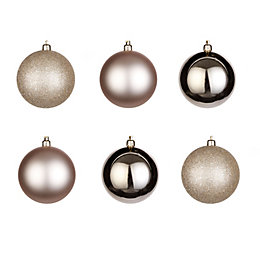 Champagne Assorted Baubles, Pack of 6