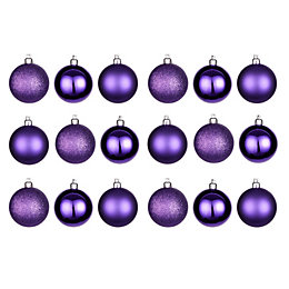 Purple Assorted Baubles, Pack of 18