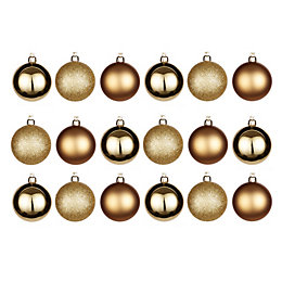 Gold Assorted Baubles, Pack of 18