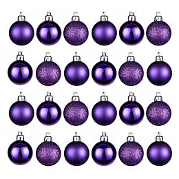 Purple Assorted Baubles, Pack of 24