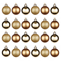 Gold Assorted Baubles, Pack of 24