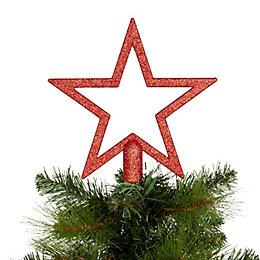 Glitter Red Star Tree Topper