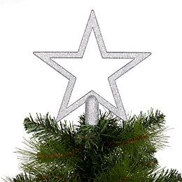 Glitter Silver Star Tree Topper