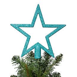 Glitter Teal Star Tree Topper