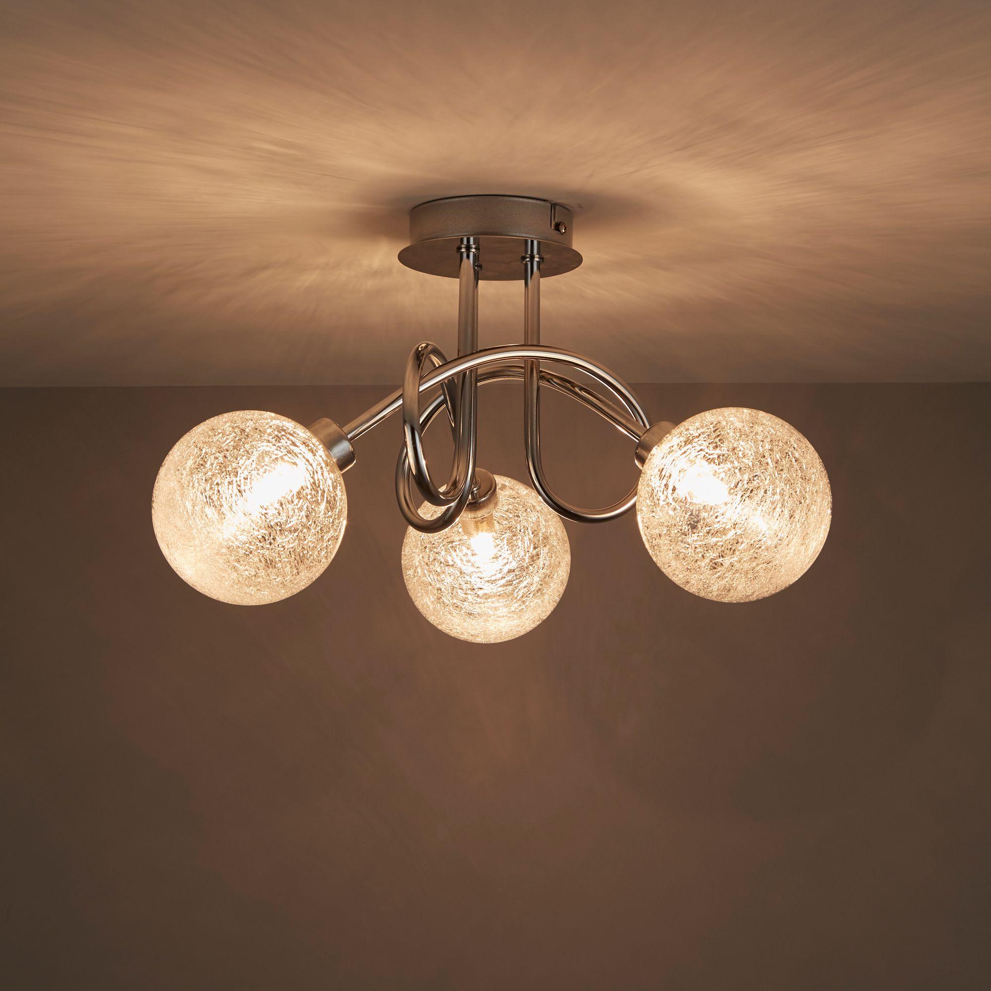 Chandelier Lighting B Q: Oxeia Glass 3 Lamp Ceiling Light