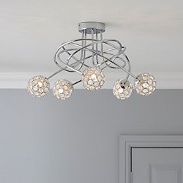 Lopez Crystal Circle Chrome Effect 5 Lamp Ceiling