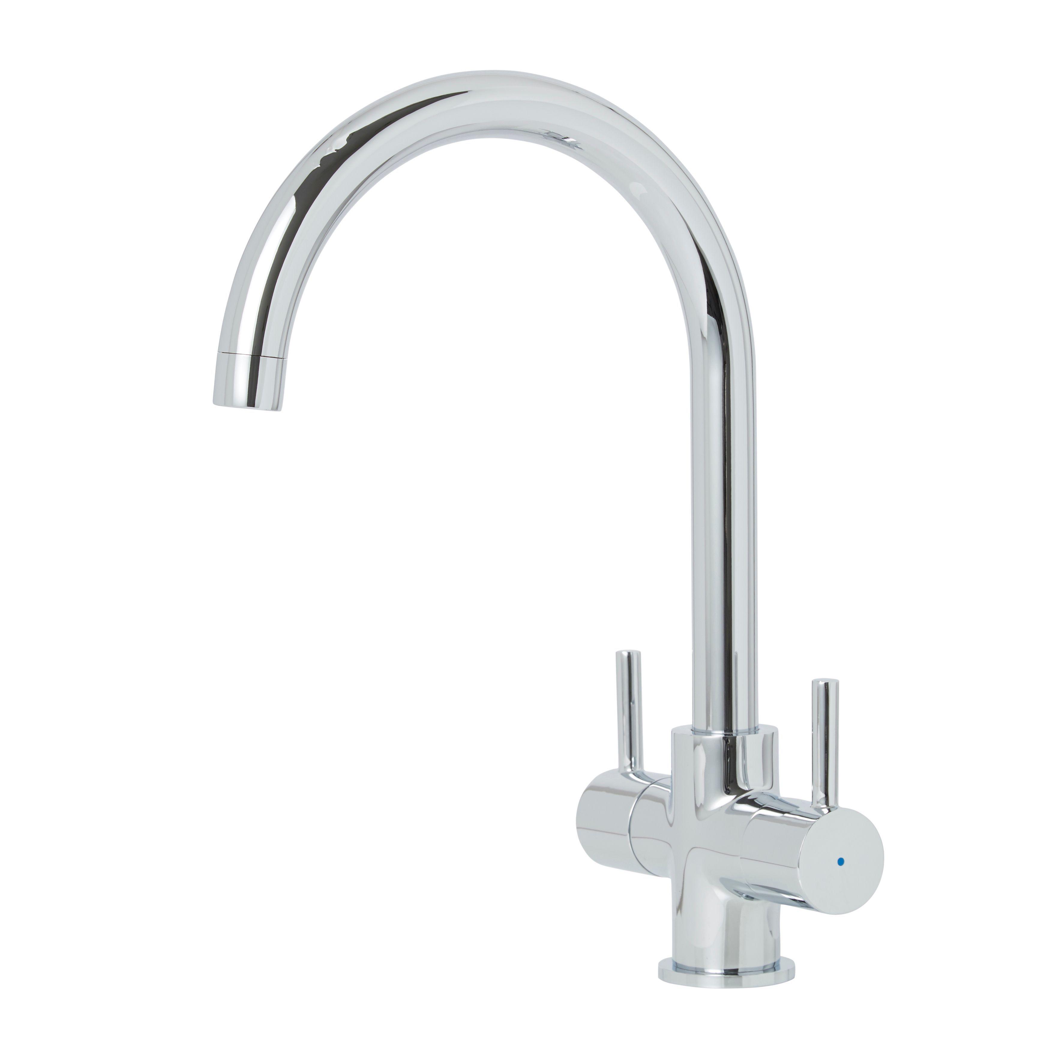 cooke lewis amsel chrome finish kitchen twin lever tap. Black Bedroom Furniture Sets. Home Design Ideas