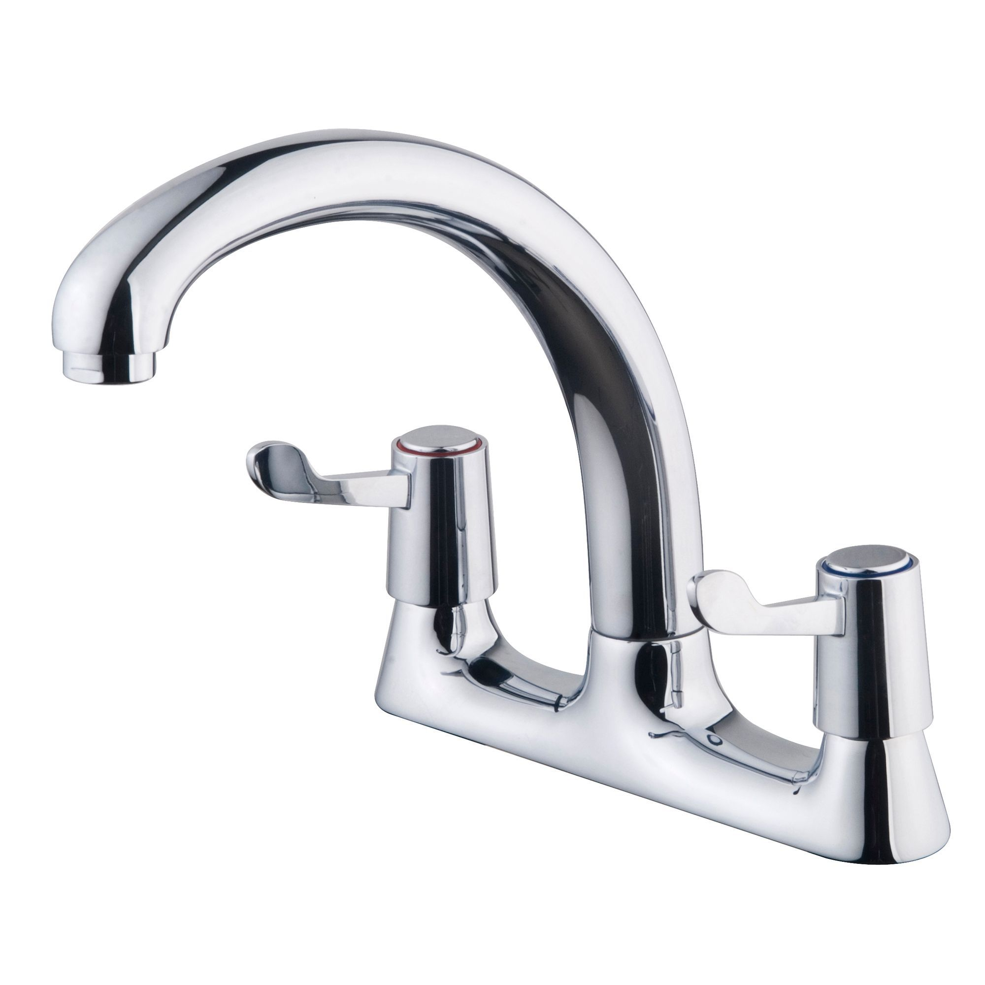 Galleny Chrome Finish Kitchen Deck Mixer Tap | Departments ...