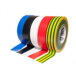 Diall Multicolour Electrical Tape (L)33M (W)19mm, Pack of
