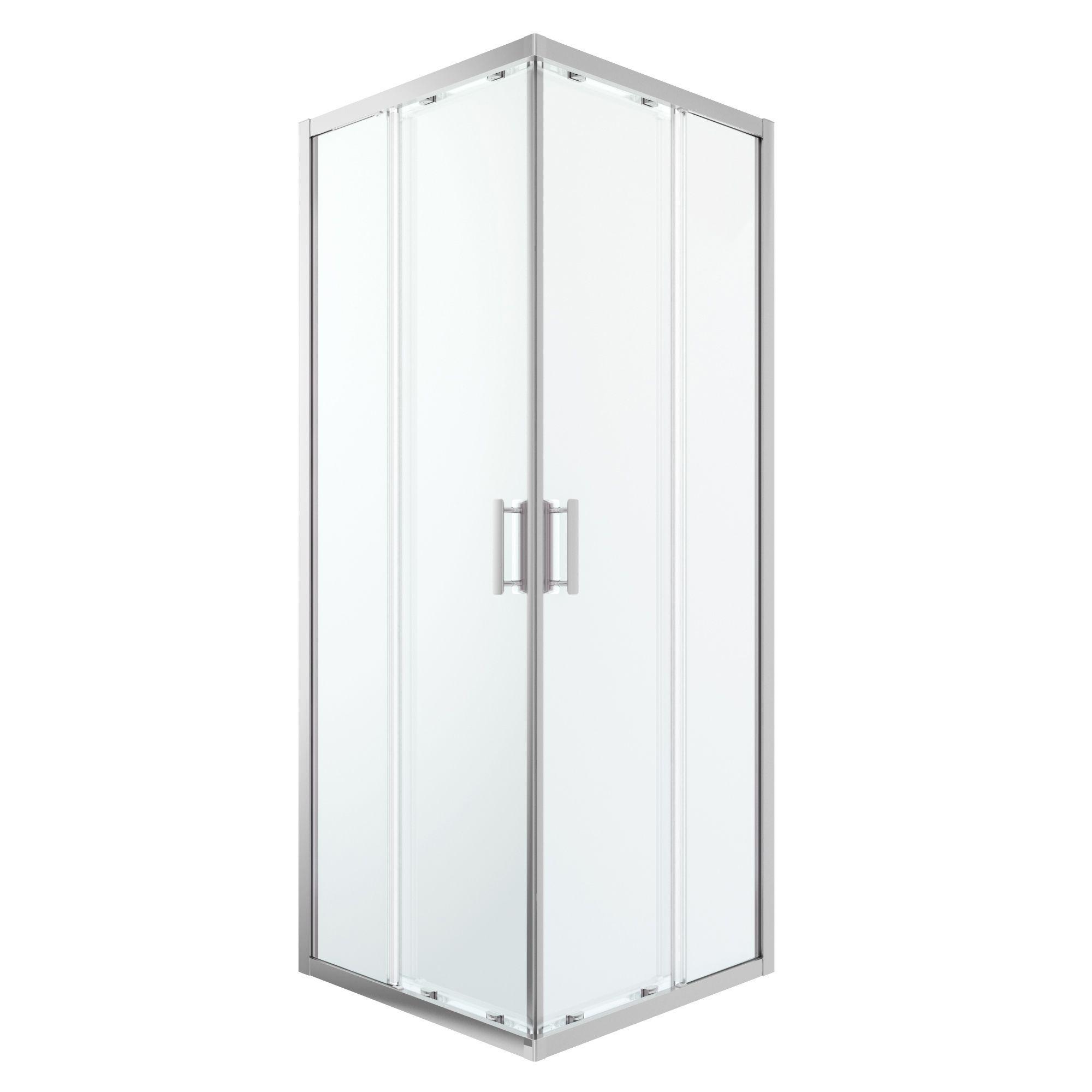 Cooke & Lewis Beloya Square Shower Enclosure With Corner Entry Double Sliding Door (w)760mm (d)760mm