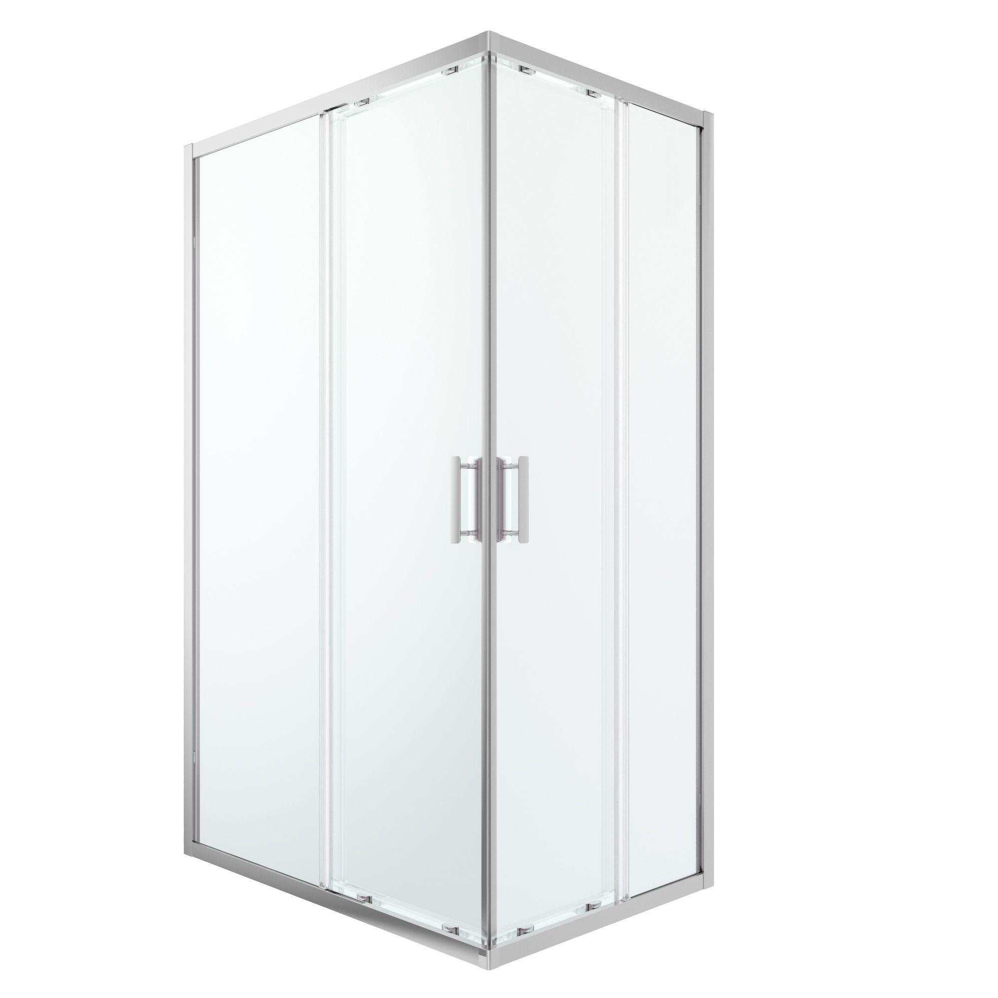 Cooke & Lewis Beloya Rectangular Shower Enclosure With Corner Entry Double Sliding Door (w)1200mm (d)800mm