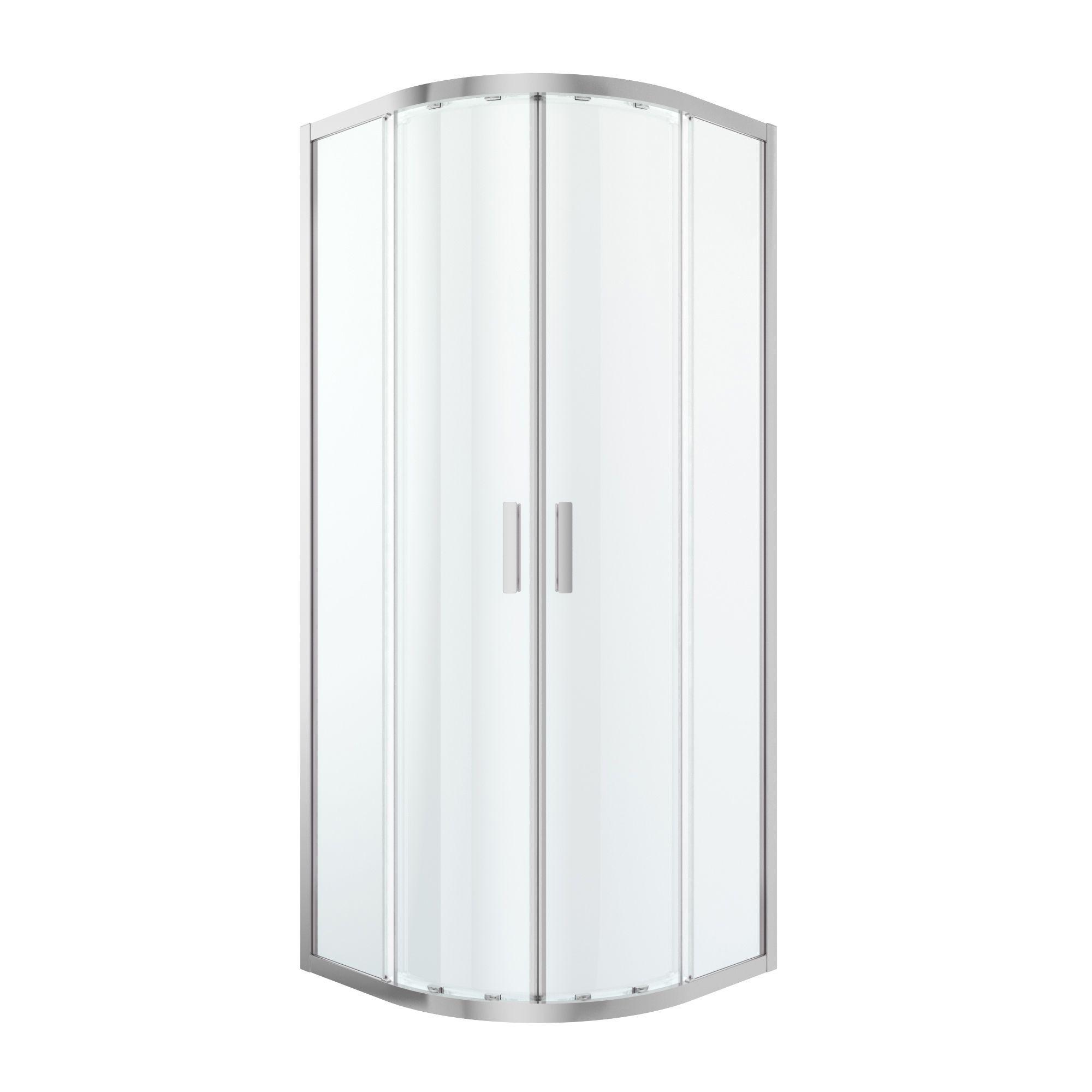 Cooke & Lewis Beloya Quadrant Shower Enclosure With Corner Entry Double Sliding Door (w)800mm (d)800mm