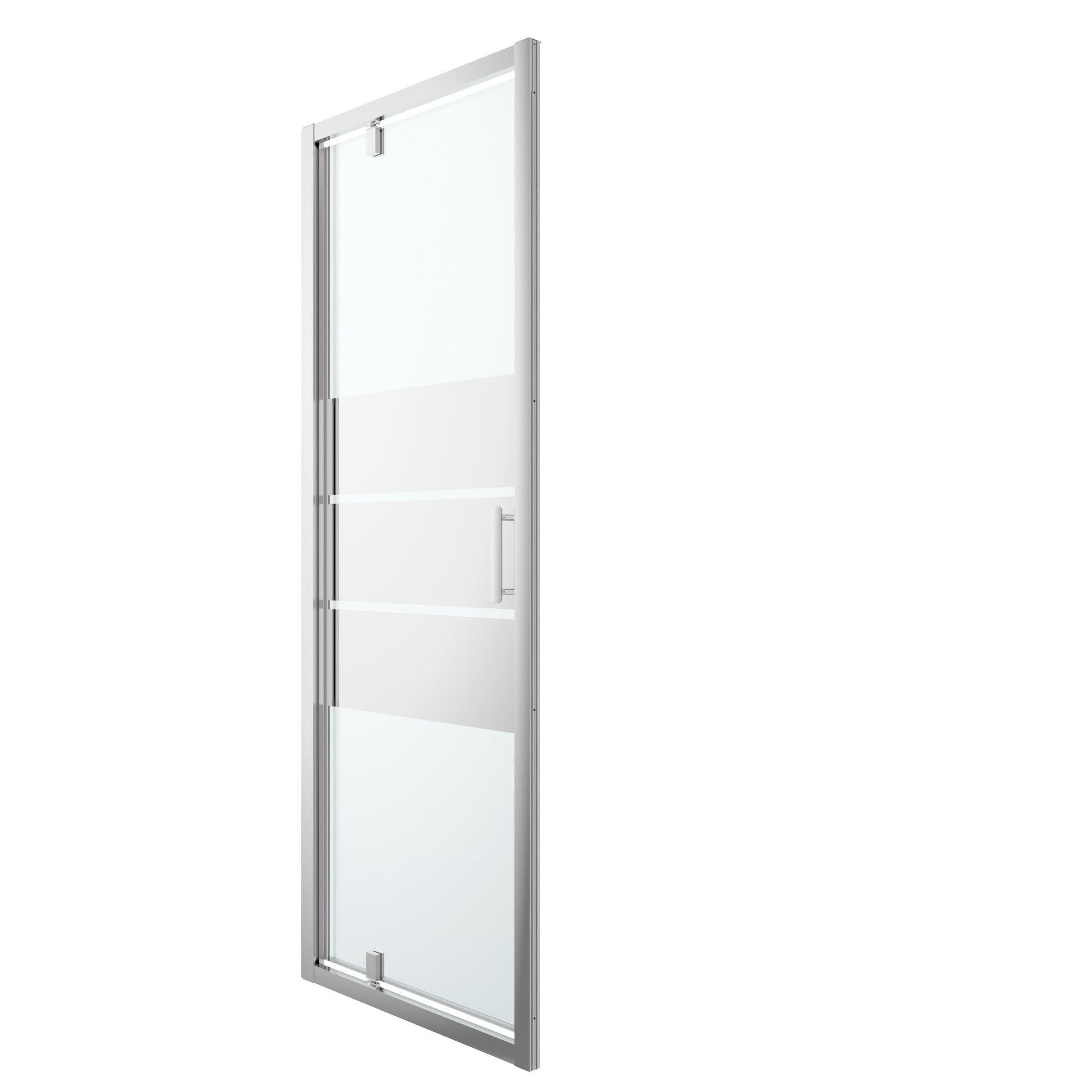 Cooke & Lewis Beloya Pivot Shower Door With Mirror Glass (w)760mm
