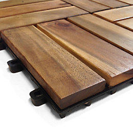 Blooma Brown Acacia Deck Tile (T)24mm (W)300mm (L)300mm