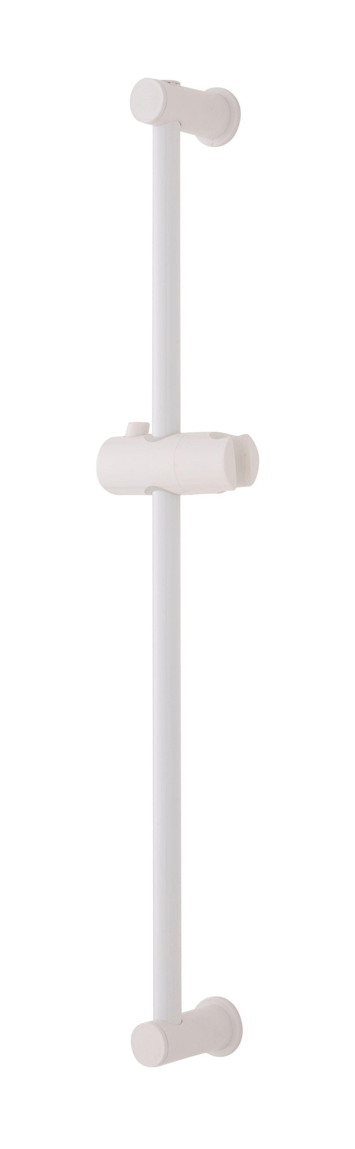White Adjustable Shower Riser Rail