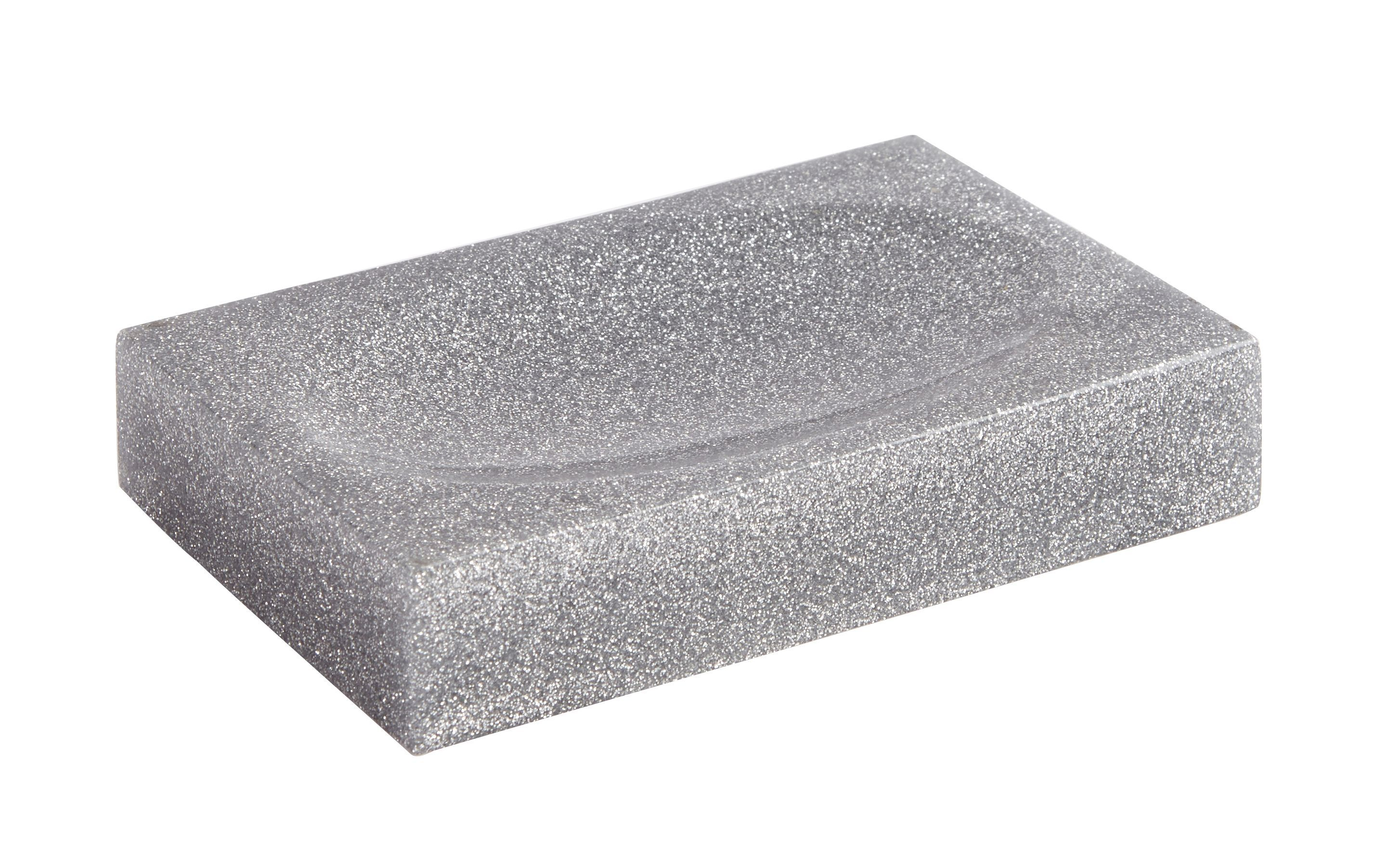 Cooke & Lewis Ice Silver Glitter Soap Dish