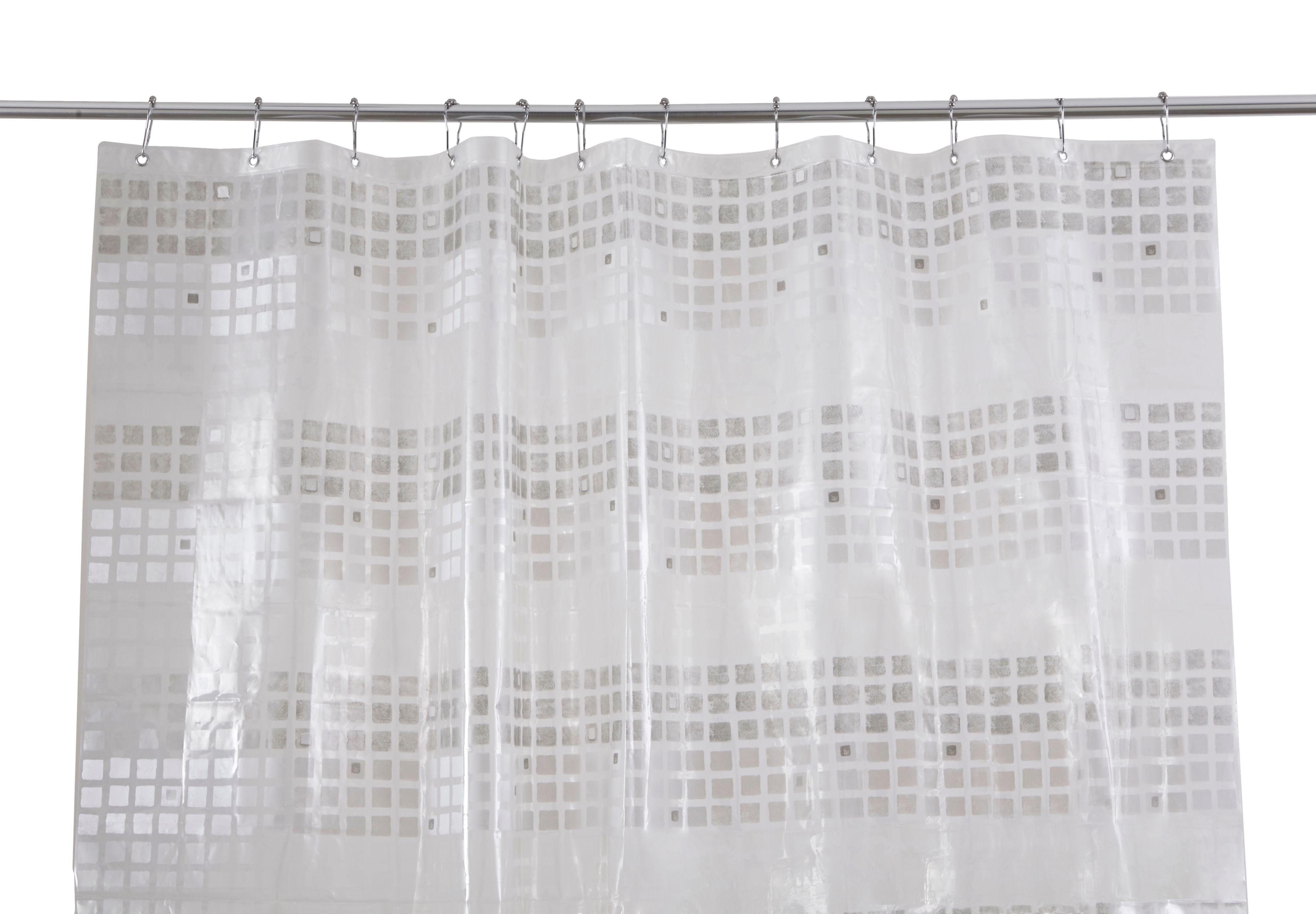 Cooke & Lewis Nakina White & Silver Mosaic Shower Curtain (l)1800 Mm