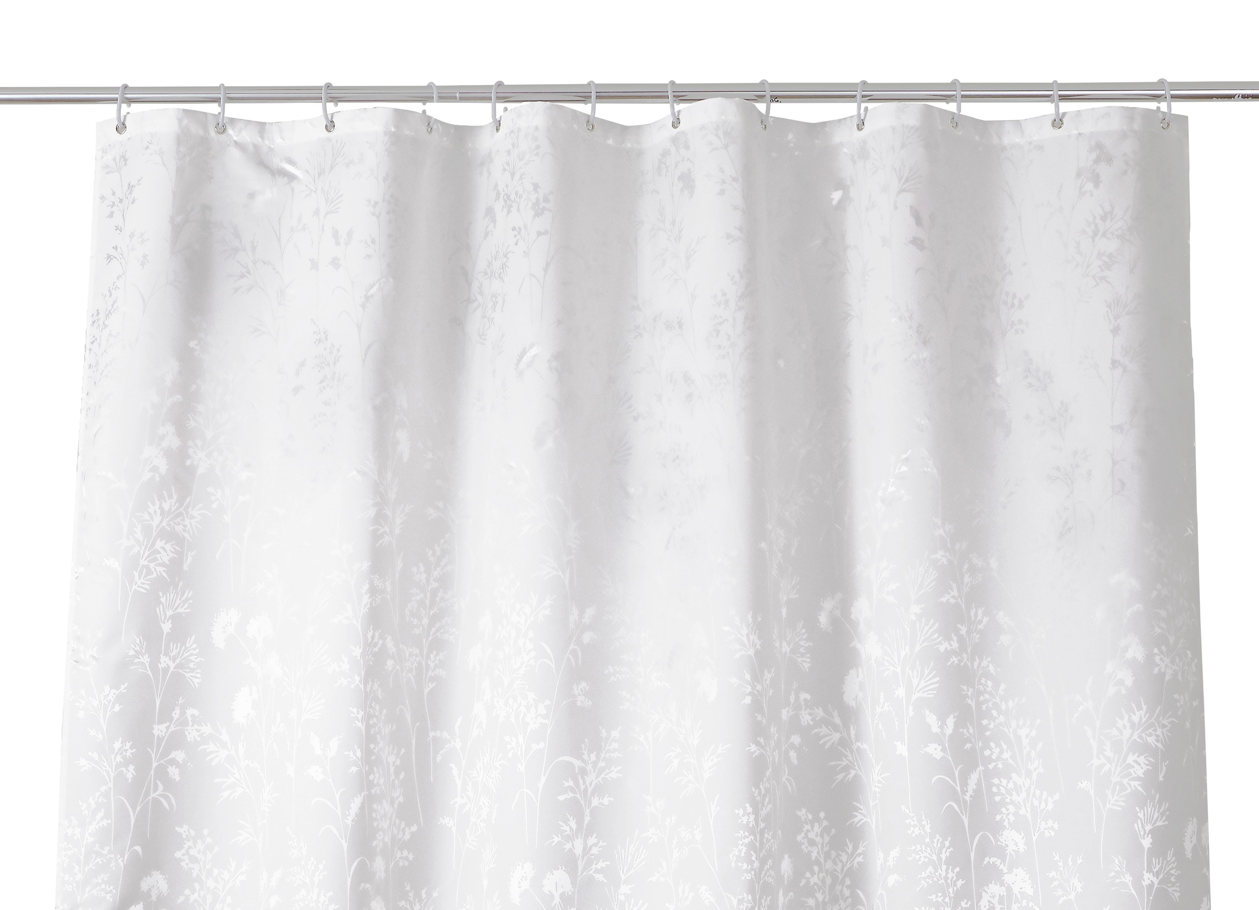 Cooke & Lewis Nessa White Tree Shower Curtain (l)1800 Mm
