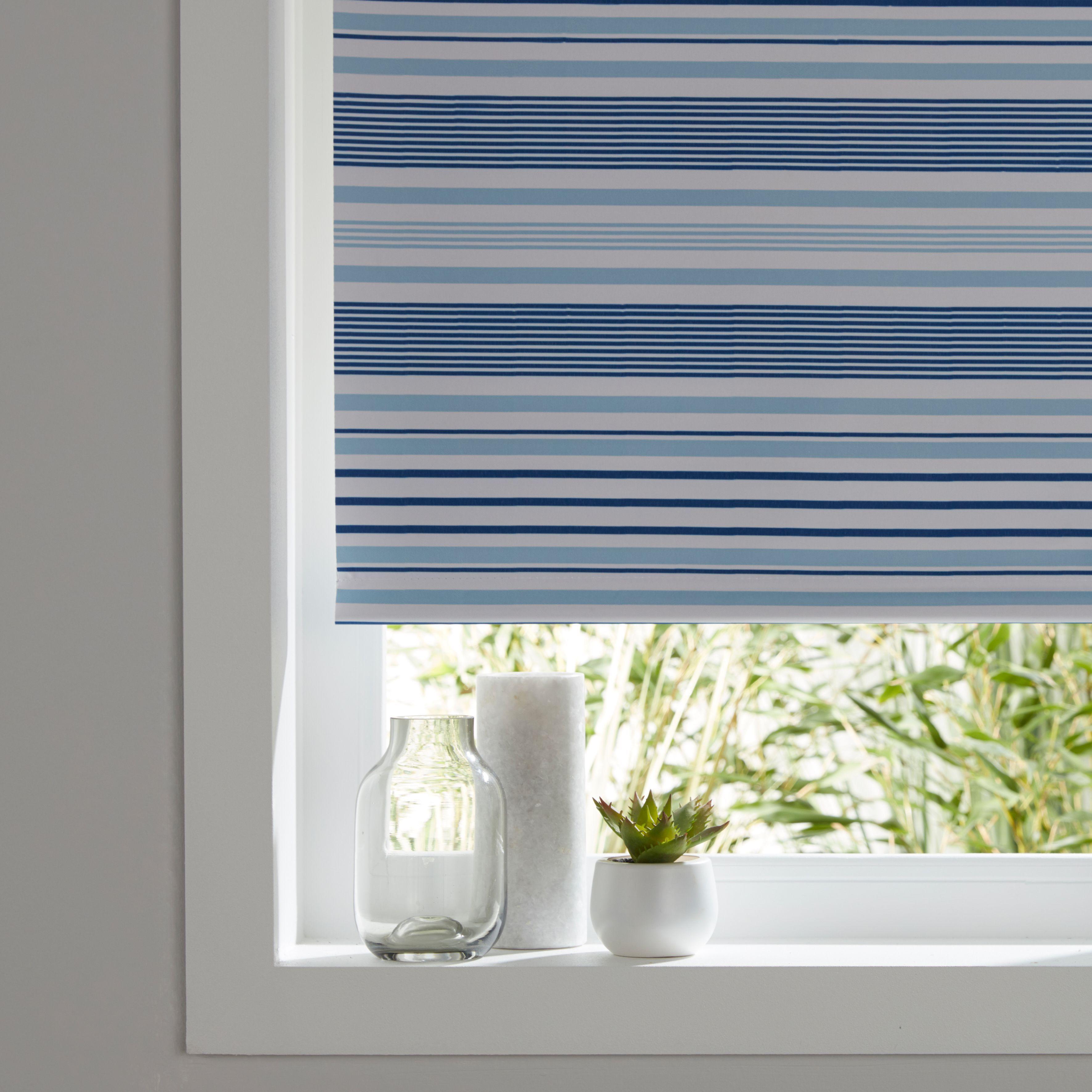 Colours Boreas Corded Blue Blackout Roller Blind (l)195 Cm (w)120 Cm