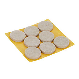 B&Q Beige Felt Pad (Dia)25mm, Pack of 8
