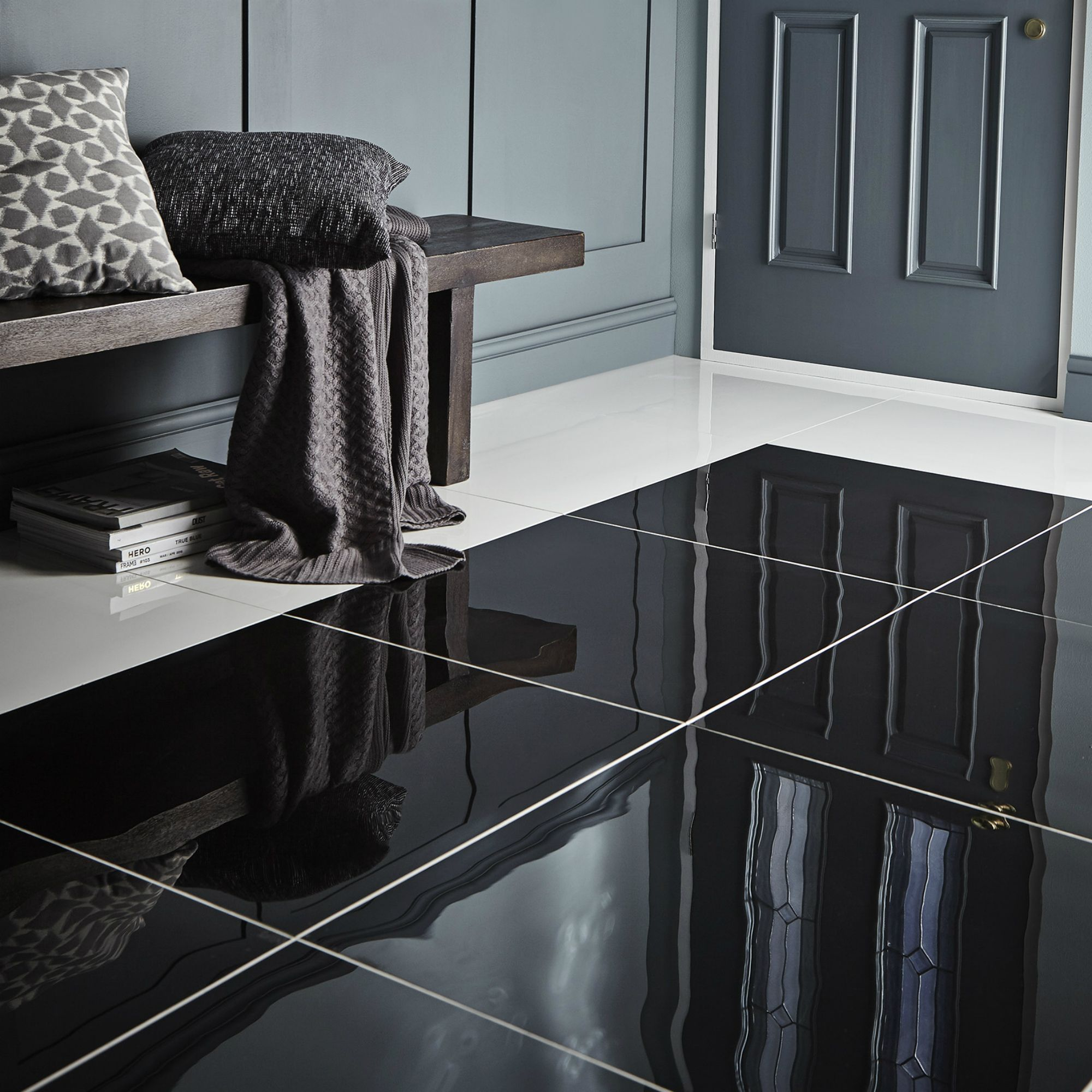 Diy at bq livourne black polished floor tile pack of 3 l600mm w dailygadgetfo Gallery